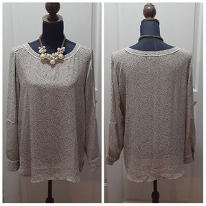 LOFT Gray Mixed Print Speckled Floral Top